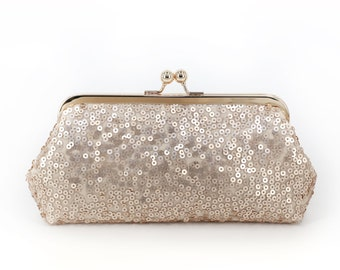 Blush Champagne Sequins Tulle Clutch + Gold Frame | Bridesmaids | Mother's Clutch | Ready to Ship