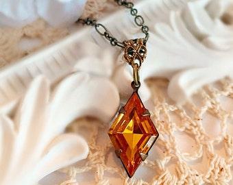 Art Deco Jewelry Set - Golden Topaz Rhinestone Necklace - Downton Abbey Jewelry - Gatsby - HARLEQUIN Golden Topaz