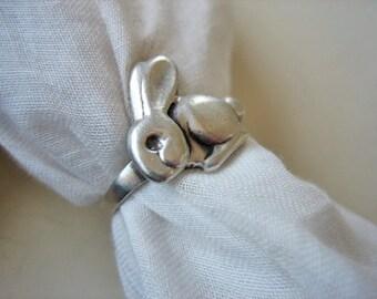 Vintage sterling rabbit ring, rabbit ring, 925 sterling rabbit ring, bunny ring, hare ring, vintage rabbit ring