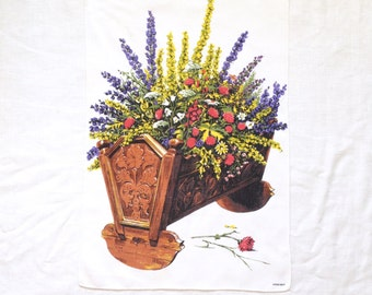 Vintage Linen Towel Flowers in Wood Cradle by Kreier