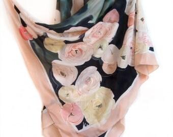 Floral wrap/ Silk Shawl painted/ Light peach black oversized scarf/ Ranunculus shawl/ Wedding accessory/ Bridal shawl/ Crepe de Chine Shawl