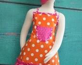 Kids Apron - Kids Ruffle Apron - Orange & Pink Polka Dot