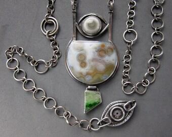 Ocean Jasper Long Necklace, Chrome Tremolite, Eye Agate & Sterling Silver