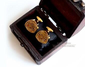 Triangle Gold Cuff links Steampunk Wedding Cufflinks