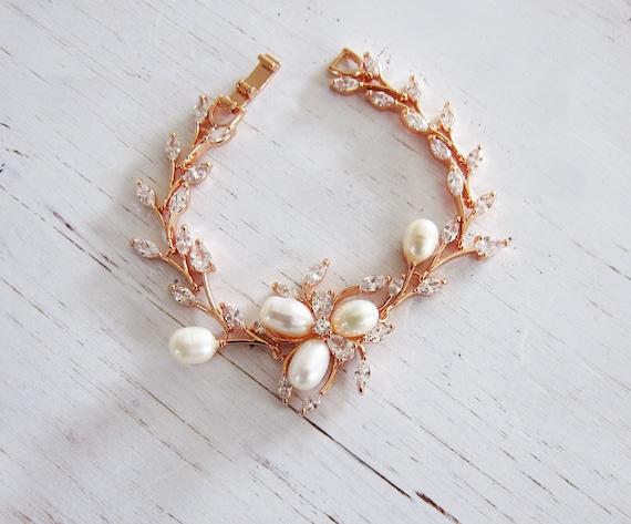 Bridal Flower Bracelet : Rose gold wedding pearl flower bridal bracelet