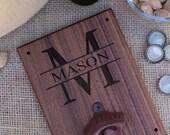 Personalized Wood Bottle Opener Gift For Him 21st Birthday Wedding Gift Groomsmen Gift SHIPS QUICK (item number NVMHDAY0900)