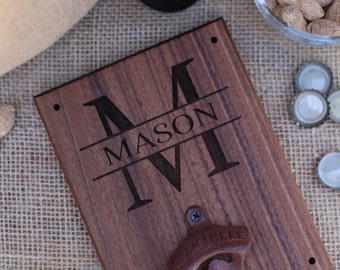 Personalized Wood Bottle Opener Gift For Him 21st Birthday Wedding Gift Groomsmen Gift SHIPS QUICK (item number NVMHDAY0900)