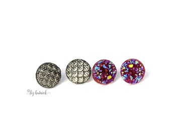 Dragon Scales and Faux Druzy Studs, 2 Pair Set of Earrings, Burgundy Sparkle, Etched Silver Scales, Stainless Steel, Titanium Posts, 10mm