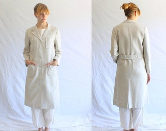 vintage 70s linen duster coat Saks Fifth Ave