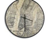 Modern Art Wall Clock - Vintage Map of New York City Print - Birch