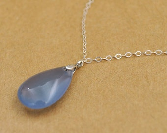 silver rain drop necklace, RAINING DAY, teardrop necklace, rain drop, clear rain, blue agate drop necklace