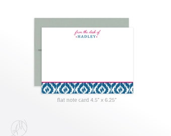 Personalized Flat Note Cards, Custom Ikat Monogrammed Stationery Set, Personal Thank You Notes, Customized Notecard set