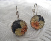 Purple,Orange & Yellow Pansies Crown Victorian Pressed Flower Leverback Earrings-Gifts Under 30-Symbolizes Loyalty-Gifts Under 30