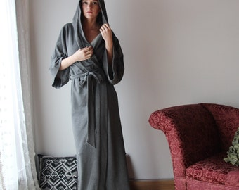 long hooded robe in cotton french terry with a kimono sleeve - WAFFY loungerie and loungewear range - made to order