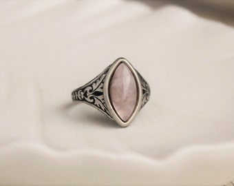 Rose Quartz Ring. Navette Ring