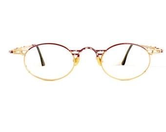 Vintage Mod Op Eyeglasses Unisex 1990's Purple Grey & Brass Colour Frames Made in Italy #M304 DIVINE