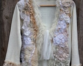 RESERVED--White magic--artful ornate  bohemian cardi , with antique laces, hand embroidery chiffon silk, textile art, bohemian