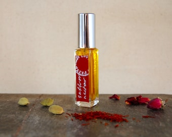 Saffron Nectar - natural botanical perfume, limited edition - saffron, rose, cardamom, rice, and woods - limited edition (8 ml atomizer)
