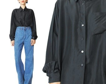 Vintage Black Silk Shirt 90s Black Silk Blouse Womens Silk Shirt Collared Long Sleeve Shirt Minimalist Button Down Shirt Chest Pocket  (L)
