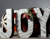 JOY Wooden Letters with Sheet Music Print Joy To The World