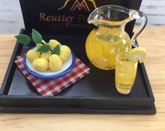 Miniature Lemonade Set With Filled Pitcher, Glass With Lemon and Porcelain Plate of Lemons by Reutter, Dollhouse Miniatures, 1:12 Scale