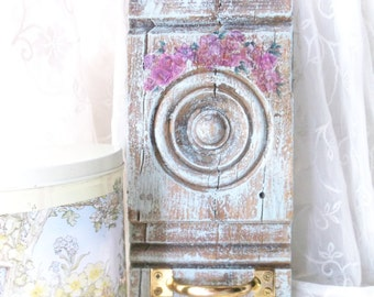 Salvage Architect Art. French Blue Wall decor. Antique Wood Crowned Plinth wall hook. Decoupage Violets. Rustic Farmhouse Decor