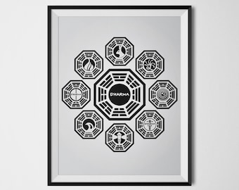 Lost Poster Dharma Initiative Lost Wall Art Dharma Stations Black Gray White Prints Lost Tv Show Poster Geek Poster Minimalist Print