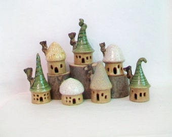 Garden Fairy House Village -  Set of 7 Houses - Handmade on Potters Wheel - Houses Ready Now ---- New Photo --- Shows  Actual Houses