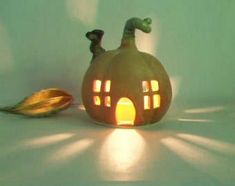 Pumpkin Fairy House / Night Light  - or Garden House -- Ready to Ship --  Medium  Size  --  Handmade, Wheel Thrown