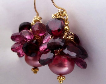 14K Gold Pink Pearl Earrings with Garnet Hearts, 14k Gold Gemstone Heart Earrings