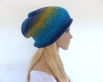Yellow and blue slouchy hat Blue Beanie Womens knit hat