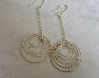Silver Chain Earrings, Silver Circle Earrings, Long Chain Earrings, Silver Hoops, Sterling Silver Dangle Hoop Earrings, Bridesmaid Jewelry