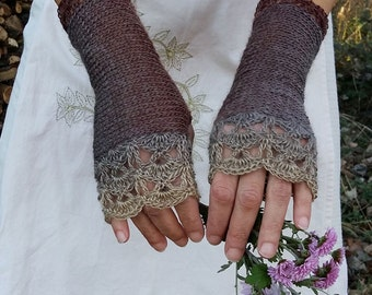 Crochet Fingerless Gloves Brown Knit Gloves Long Arm Warmers Elegant Lace Gloves Womens Knitted Mittens WoodLand Beige Nude Gloves Gift Her