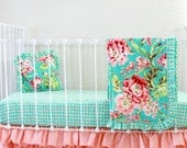 Coral and Turquoise Crib Bedding in Tropical Floral with Peach Ruffle Cribskirt , matching nursery decor & curtain panels by lottiedababy