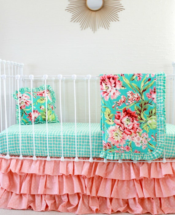 Peach And Aqua Bedroom: Coral And Turquoise Crib Bedding In Tropical Floral With Peach