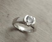 White Topaz Engagement Sterling Silver Half Bezel Free Shipping USA