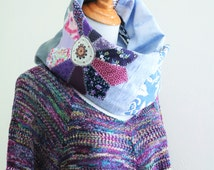 Patchwork Infinity scarf Reversible Cowl Circle Mobius neck warmer Upcycled Boho Hippie Eco Friendly Recycle Loop scarf rustic quilted gypsy