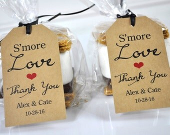 Wedding Thank You Tags, Smore Love Favor Tags, Rustic Kraft Favor Tag, Bridal Shower Favor Tags, Personalized Favors, Thank You - Set of 12