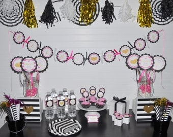 Bridal Shower Banner, Bride To Be Banner, Bachelorette Party Banner, Wedding Party Banner, Pink, Black and Gold Heart, Banner, Party Decor