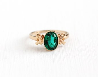 Sale - Vintage 10k Yellow Gold Simulated Emerald Ring - Size 4 Green Faceted Glass Fine Flower Leaf Jewelry BDA Budlong Docherty Armstrong
