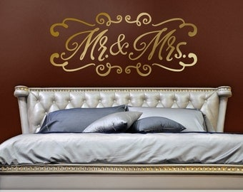 Mr and Mrs Wall Decor Wedding or Bedroom Headboard Wall Decal, Mr and Mrs Wall Decal, Wedding Gift for Couple, Gold Bedroom Wall Decal