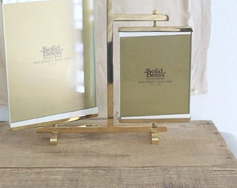 Vintage solid brass swivel photo picture frame display