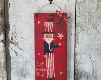 Uncle Sam, Americana Decor, Primitive Uncle Sam, Barn Board, Let Freedom Ring, Painted Uncle Sam, Country Decor, Patriotic, Red White Blue