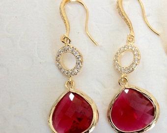 Pink Bridesmaid Earrings, Pink earrings, Ruby earrings, Pink Dangle Earrings, Wedding Pink Earrings,   Bridesmaid Earrings, Bridesmaid gift