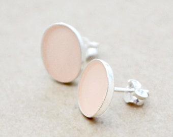 Large Oval Bezel Stud Earrings - Sterling Silver Post - Any Color