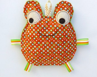 Fred the Frog, Baby Toy, Crinkle Toy, Great Unisex Baby Gift, Orange and Green