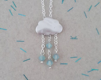 April Showers- Silver Cloud, Rain Cloud, Rain Drop, Rain Necklace, Silver Cloud Necklace, Nature Jewellery, Swarovski Crystals