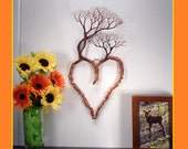 """16"""" Wire Tree Of Life, metal copper tone Heart, Family Tree of 4, metal rustic wall decor, handmade sculpture unique gift, crowsfeathers art"""