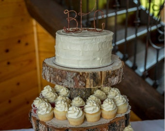Rustic Monogram Wedding Cake Topper, Initials Wedding Cake Decoration, Rustic Centerpiece, Bridal Shower, Anniversary, Engagement Party