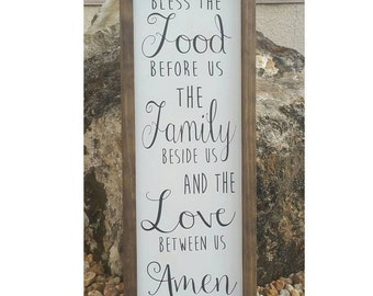 "Bless the Food before Us Sign | Wood Sign | Dining Room Sign | Rustic Kitchen | Shabby Chic Kitchen Decor | 24""x9"""